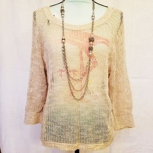 Mossimo Supply Co Hi Lo Hem Sheer Knitted Sweater
